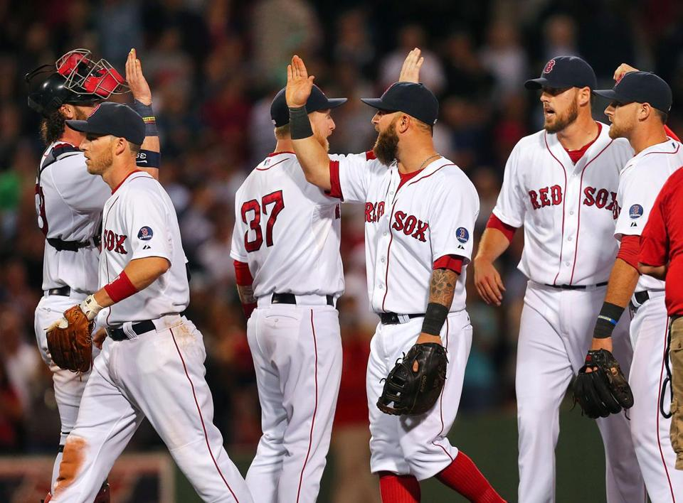 While the Red Sox are happy to make the playoffs, the celebration Thursday was subdued.