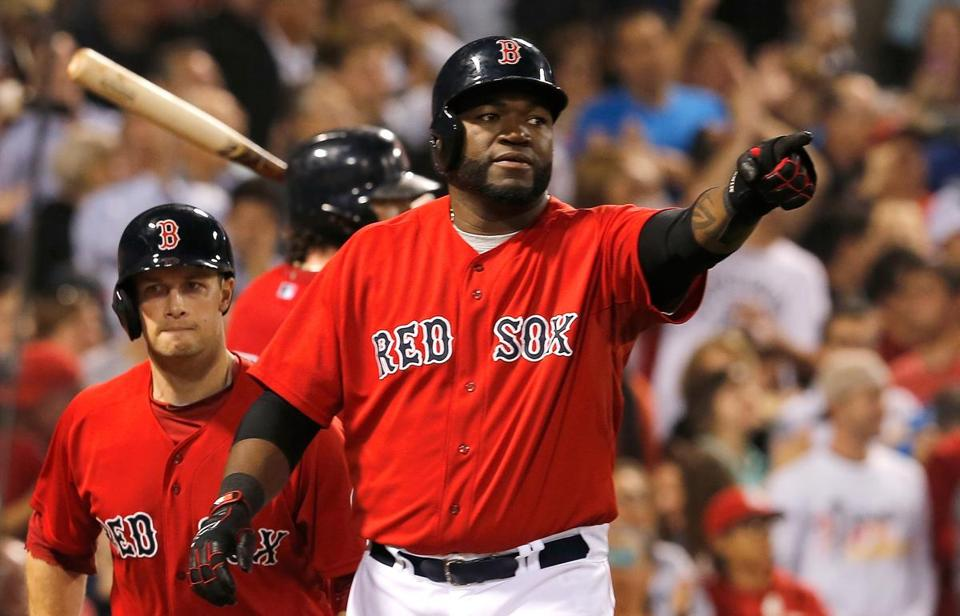 David Ortiz reacted after he and Daniel Nava scored runs in the seventh inning.