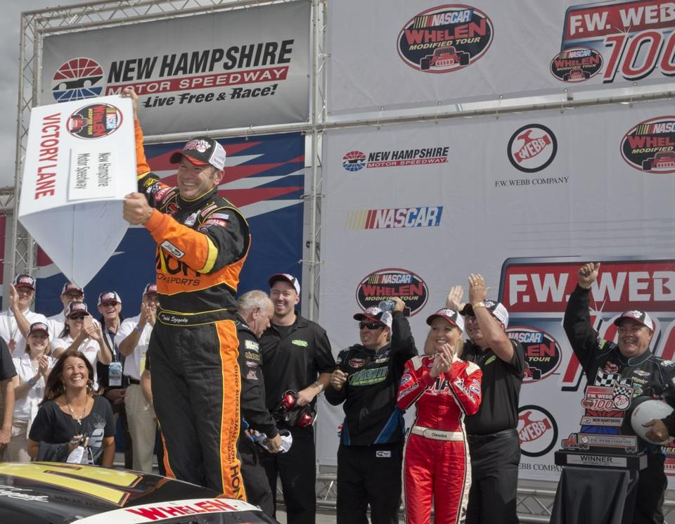 Todd Szegedy celebrates after the F.W. Webb 100, his first victory since September 2011.