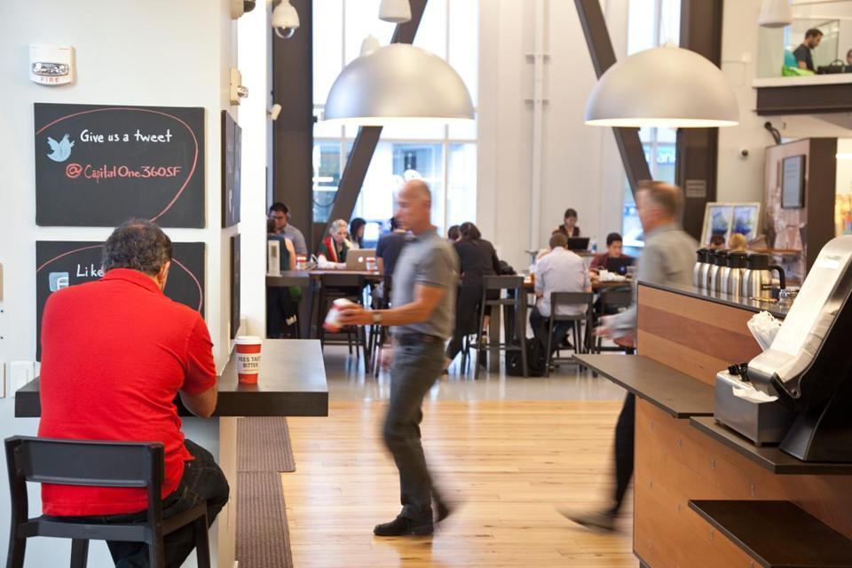 Capital One runs a cafe-style office in San Francisco. Employees serve up coffee and advice.