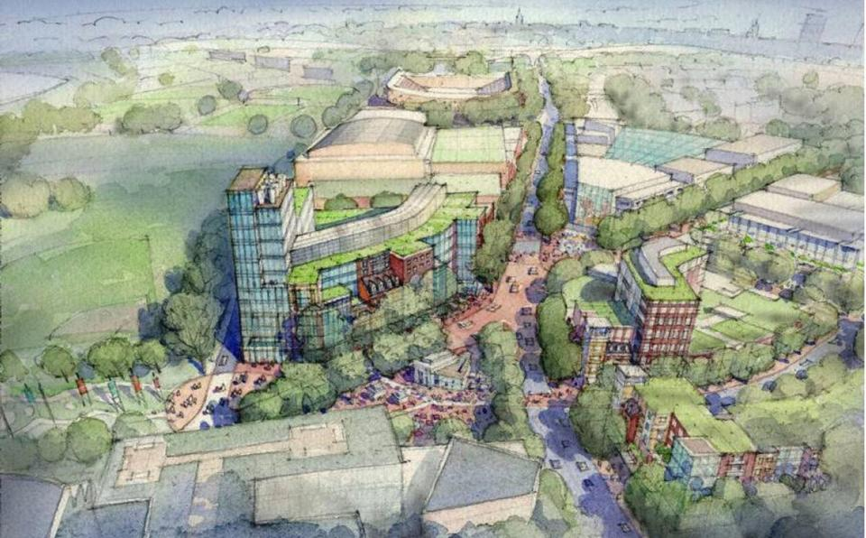 A rendering of Harvard University's proposed Allston campus.