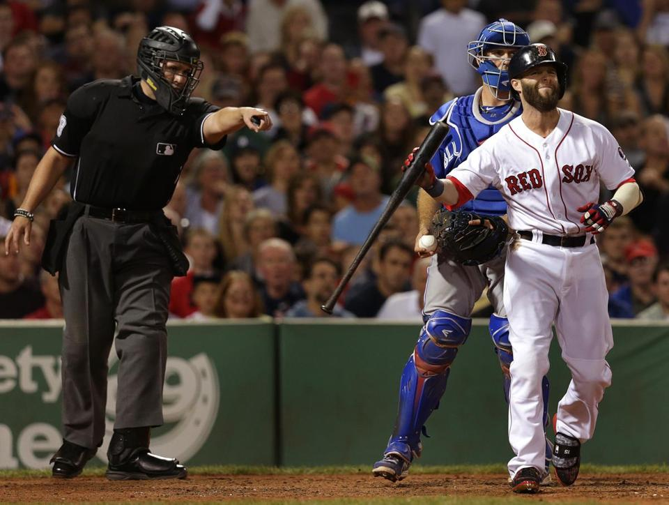 Dustin Pedroia got an at-bat as a pinch hitter in the seventh, but struck out.