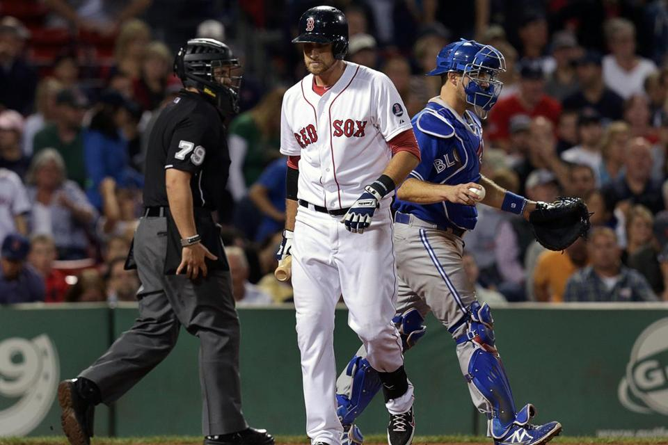 Red Sox third baseman Will Middlebrooks struck out to end the game.