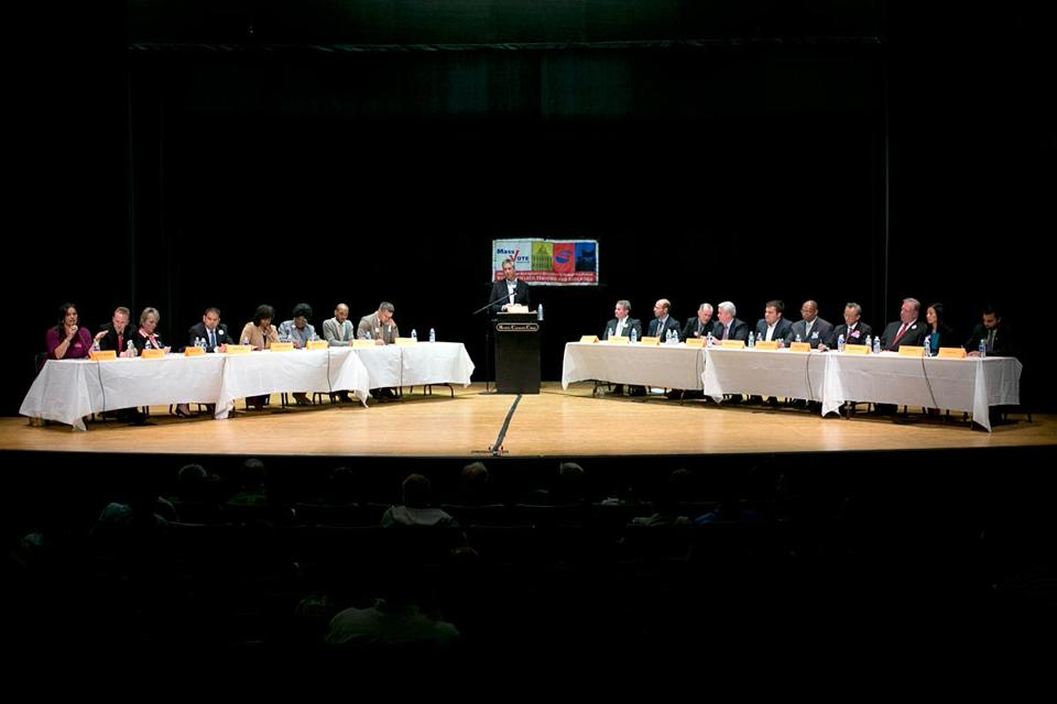 The candidates faced off at a forum last week at Roxbury Community College. In all, 19 candidates are contending for eight slots on the general election ballot for at-large council seats.