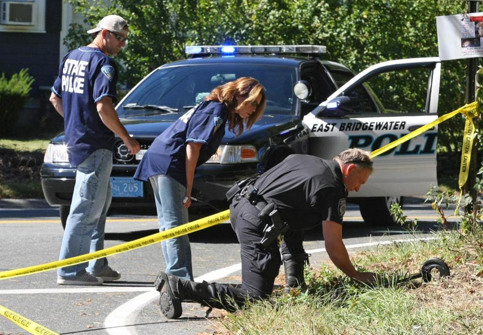 Investigators looked for evidence at the intersection of Summer and Thatcher streets in East Bridgewater.