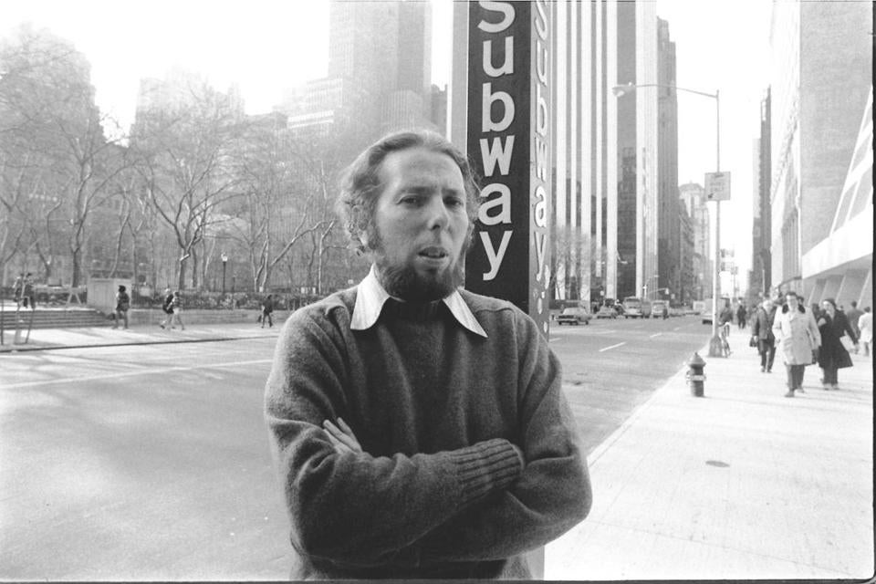 Dr. Stanley Milgram outside a subway stop in Manhattan in 1975.