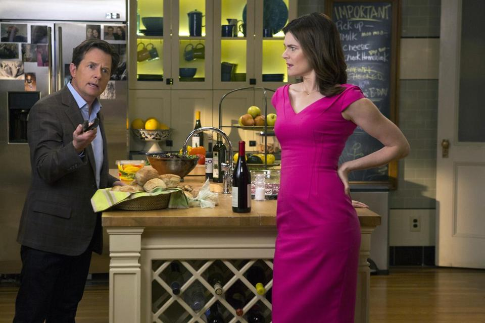 "Michael J. Fox and Betsy Brandt in ""The Michael J. Fox Show."""