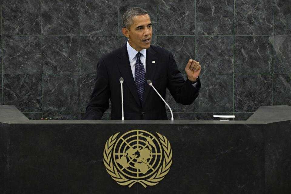 President Obama outlined a revamped Mideast policy in a UN address Tuesday.