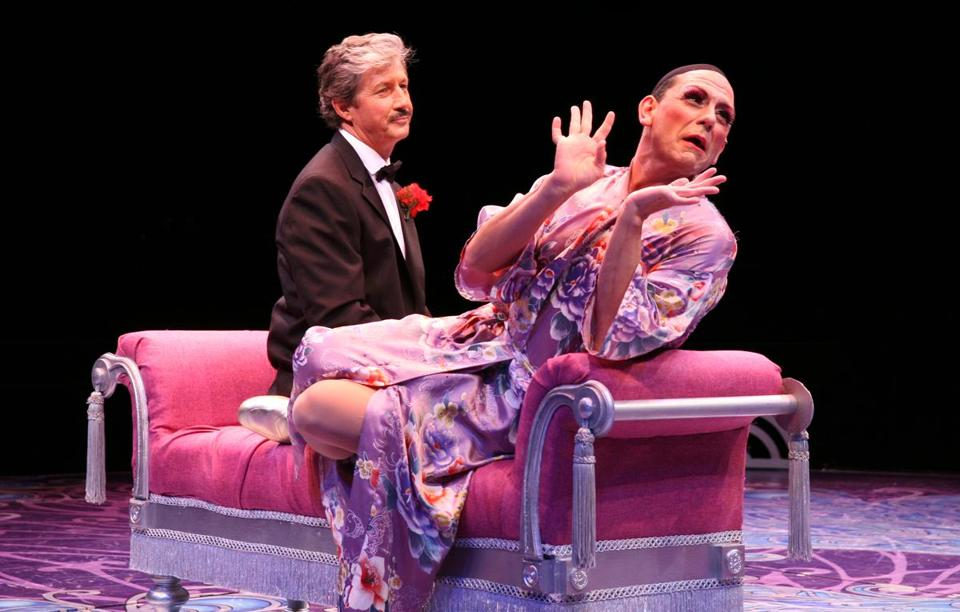 "Charles Shaughnessy (left) and Jonathan Hammond in North Shore Music Theatre's production of ""La Cage aux Folles."""