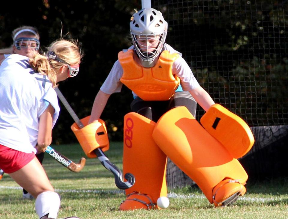 "Masconomet Regional High School goalie Kylie Currier was put into the net to see what she could do, and she ""stopped everything,'' said her coach, Leah Gunner."