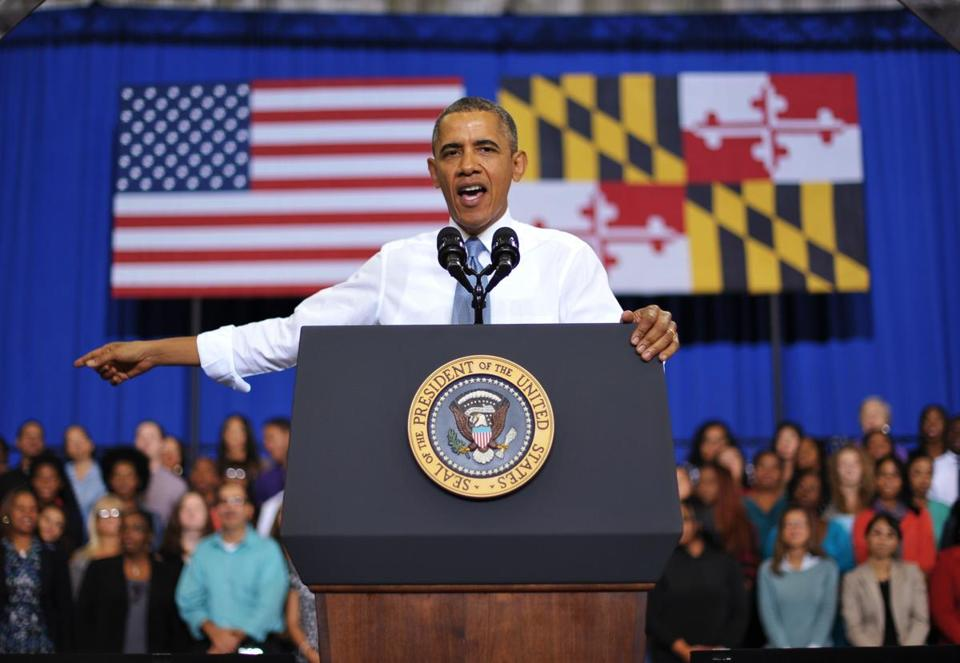 President Obama, at Prince Georges Community College in  Maryland, ridiculed GOP opponents of the health care law.