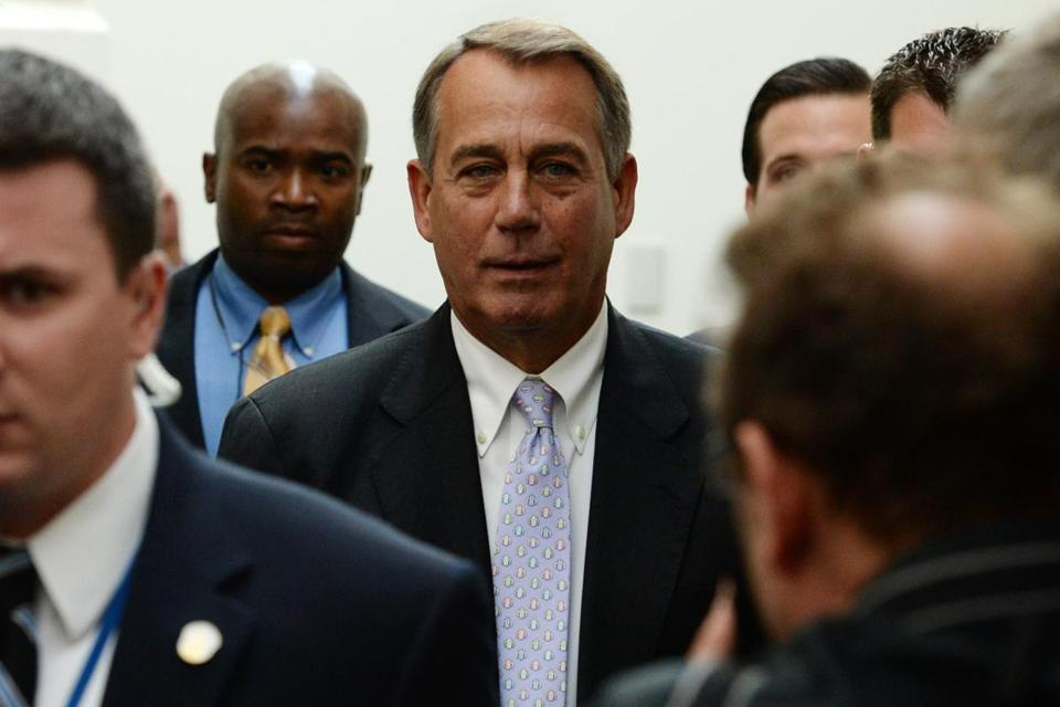 House Speaker John Boehner and other Republican leaders placed responsibility for averting a government shutdown back in the Senate's court on Saturday.
