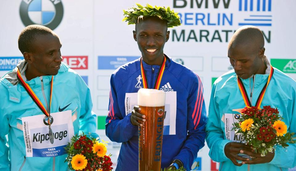Wilson Kipsang, center, won the Berlin Marathon, with Eliud Kipchoge in second place and Geoffrey Kipsang in third.
