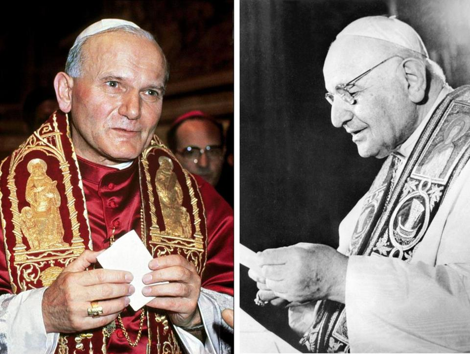 Pope John Paul II(left) and Pope John XXIII (right) will be declared saints on April 27.