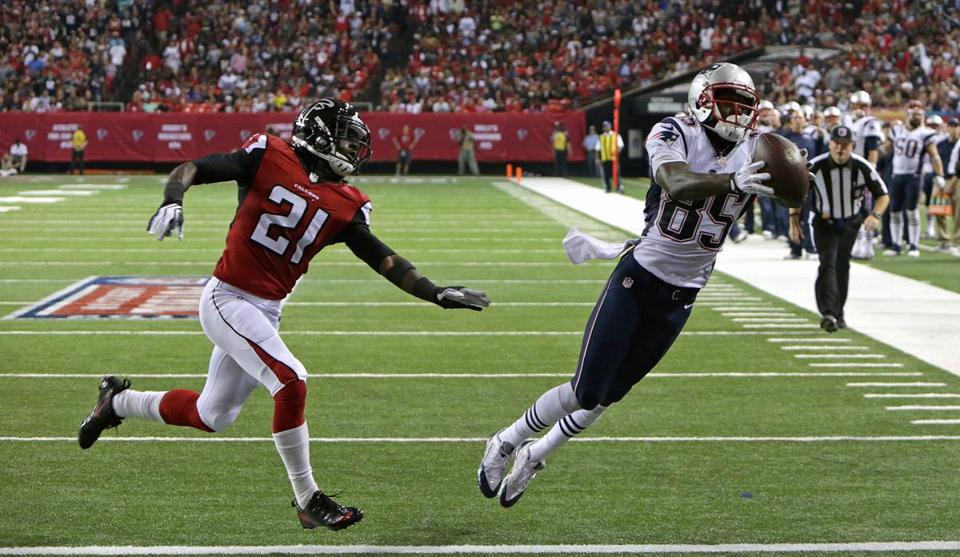 New England Patriots wide receiver Kenbrell Thompkins pulled  in a touchdown pass in the fourth quarter against the Falcons.