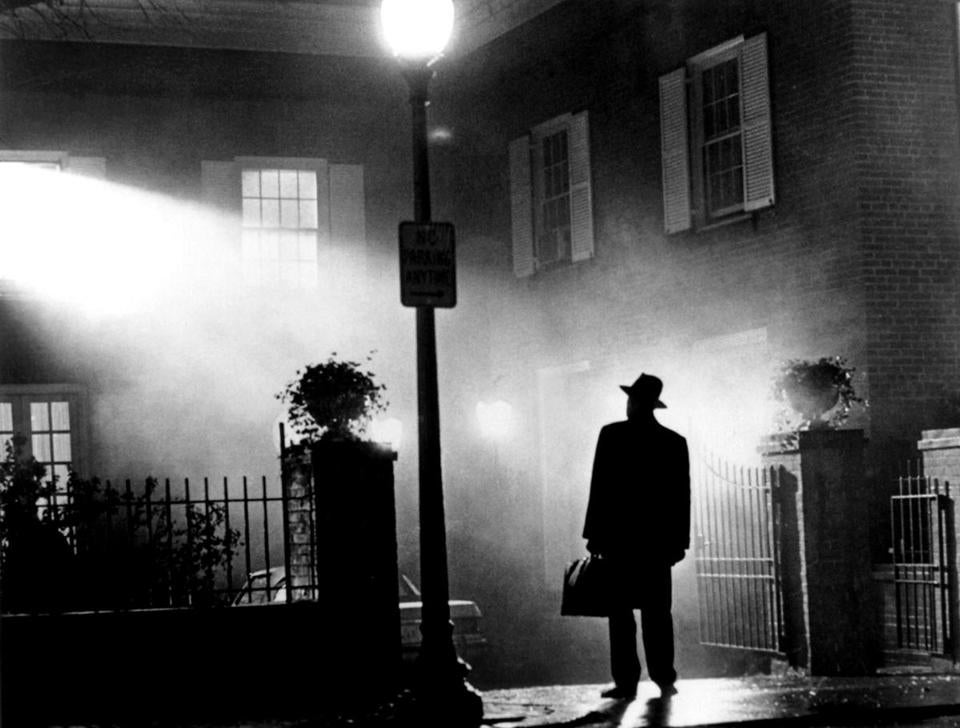 The 1973 horror film 'The Exorcist' based on William Peter Blatty's novel is being re-released September 22, 2000 with 11 minutes of never-before-seen footage and completely redesigned sound. Directed by William Friedkin, the movie stars Linda Blair, Ellen Burstyn, Jason Miller and Max Von Sydow, pictured in a scene from the movie. REUTERS/Warner Bros/Handout Published in NYT 02/22/04 - ARTS & LEISURE Section Published Caption: A scene from the original 1973 movie ''The Exorcist,'' rereleased in 2000. (Photo by Reuters) 25menfeature