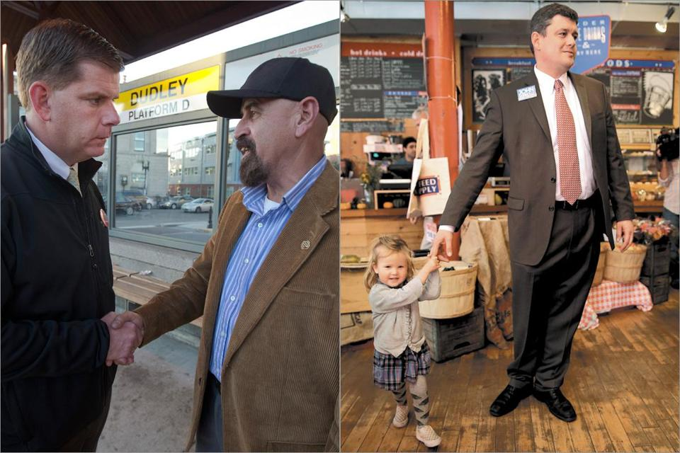 State Representative Martin J. Walsh (left) spoke to Angel Miranda on the campaign trail. Councilor at Large John R. Connolly spoke to a voter as her daughter spun about him.