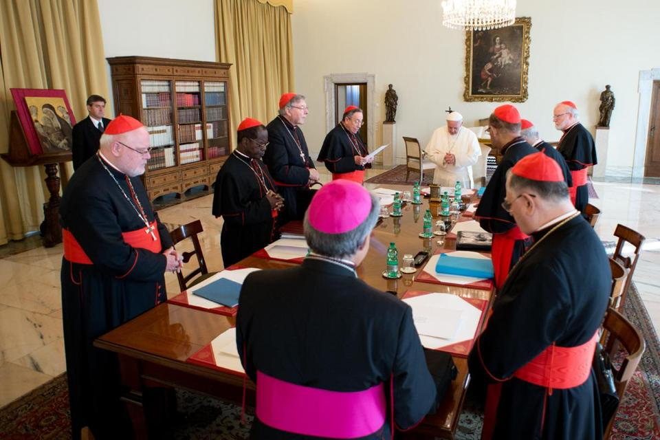 Pope Francis met Tuesday with his top advisory panel, which includes Cardinal Sean O'Malley of Boston.