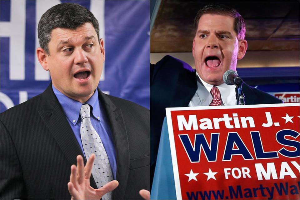 Councilor at Large John R. Connolly (left) held an early advantage in fund-raising, but state Representative Martin J. Walsh outpaced him in the preliminary campaign for mayor. Fund-raising for both is expected to heat up soon.