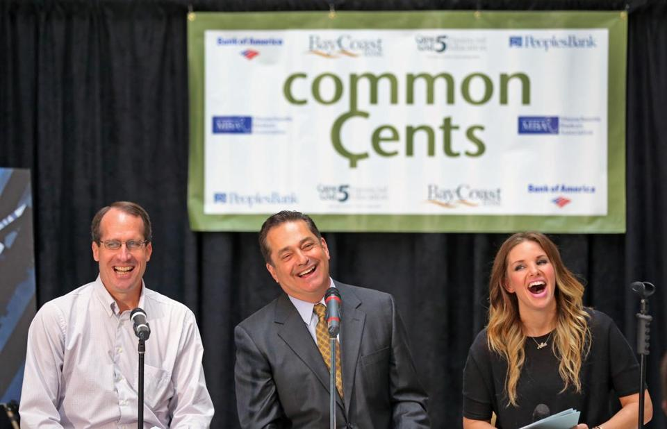 Jeffrey Fuhrer (left), Mike Nikitas, and Ashlee Feldman cohosted the quiz show for high school students Friday at the State House.