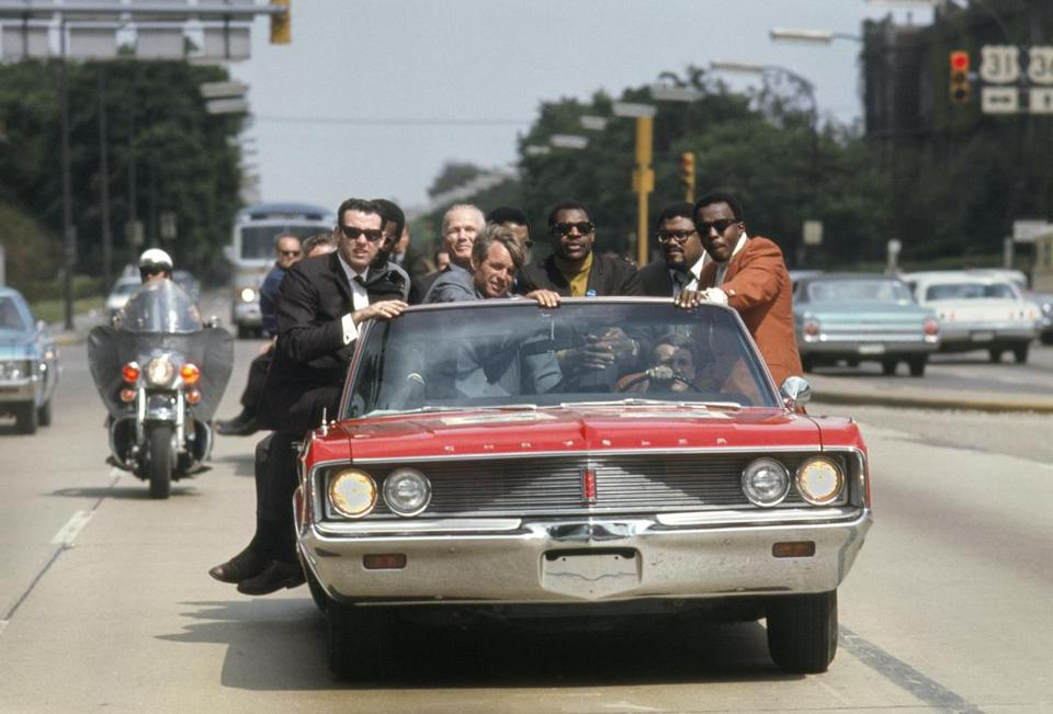 Mr. Eppridge photographed Robert Kennedy campaigning in 1968 with the Rams' Fearsome Foursome for Life magazine.