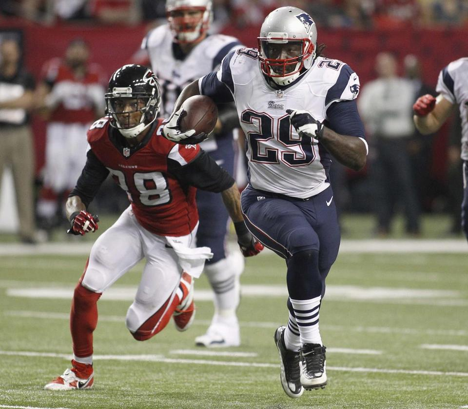 LeGarrette Blount's 47-yard run against the Falcons is New England's only rushing TD.