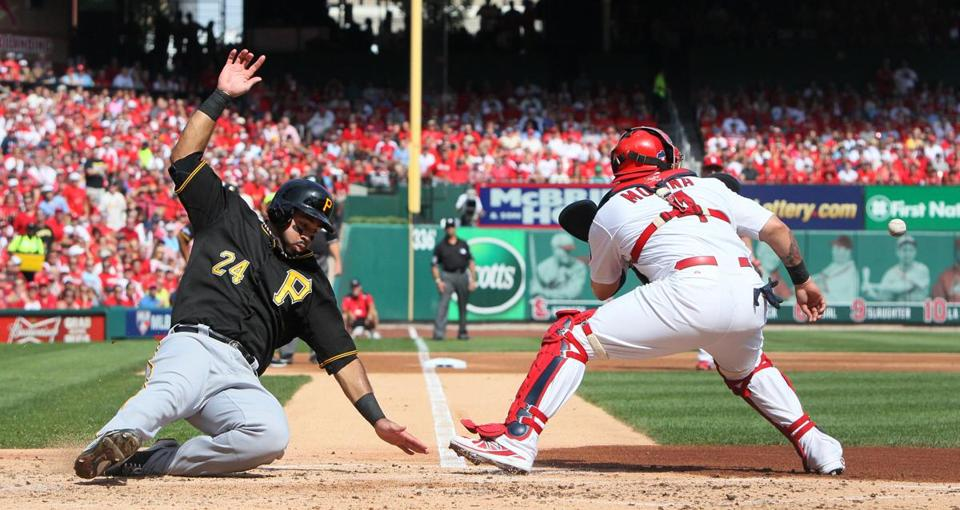 Pedro Alvarez, who later homered, comes around to score on pitcher Gerrit Cole's RBI single in the second inning.