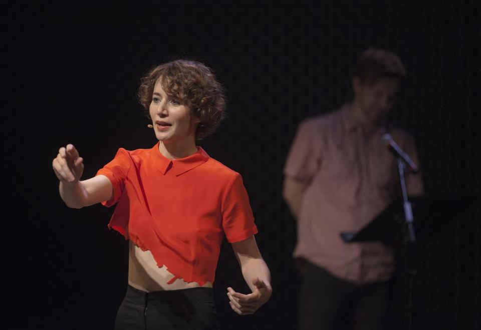 "Miranda July presenting her new participatory piece, ""Society,"" which she describes as a work in progress."