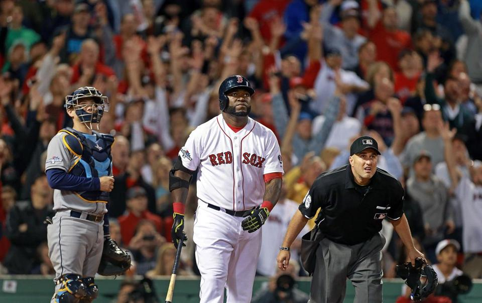 David Ortiz and plate umpire Eric Cooper watched the flight of Ortiz's eighth-inning home run, his second round-tripper of the game.