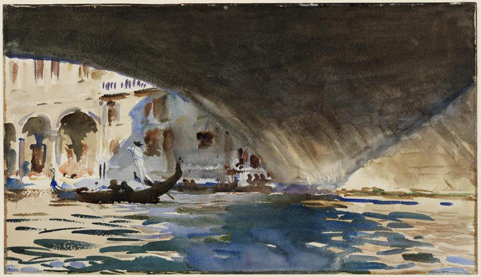 "John Singer Sargent produced nearly 150 watercolors from Venice. Pictured: ""Venice: Under the Rialto Bridge"" (circa 1909)."