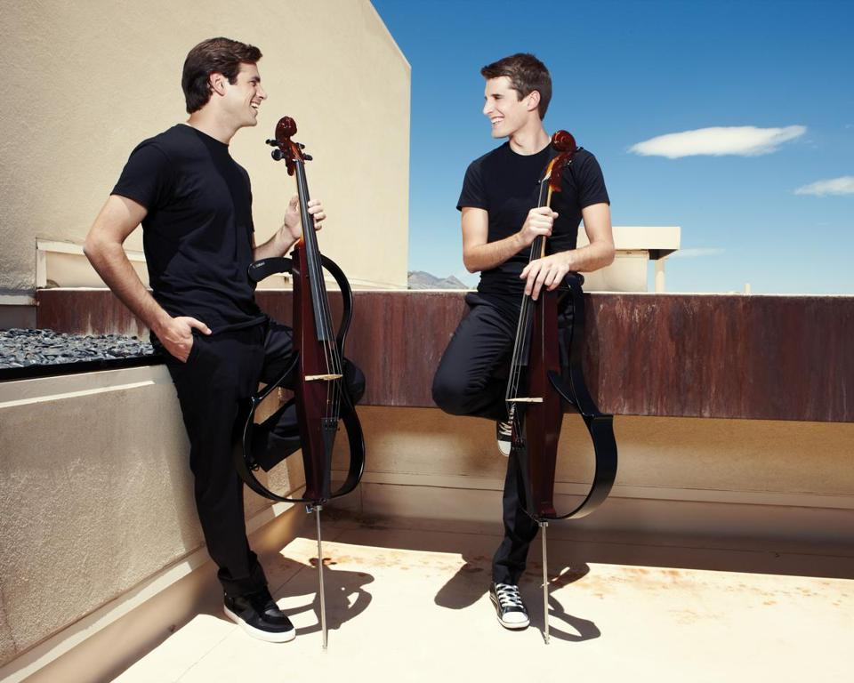 Stjepan Hauser (left) and Luka Sulic perform as 2Cellos.