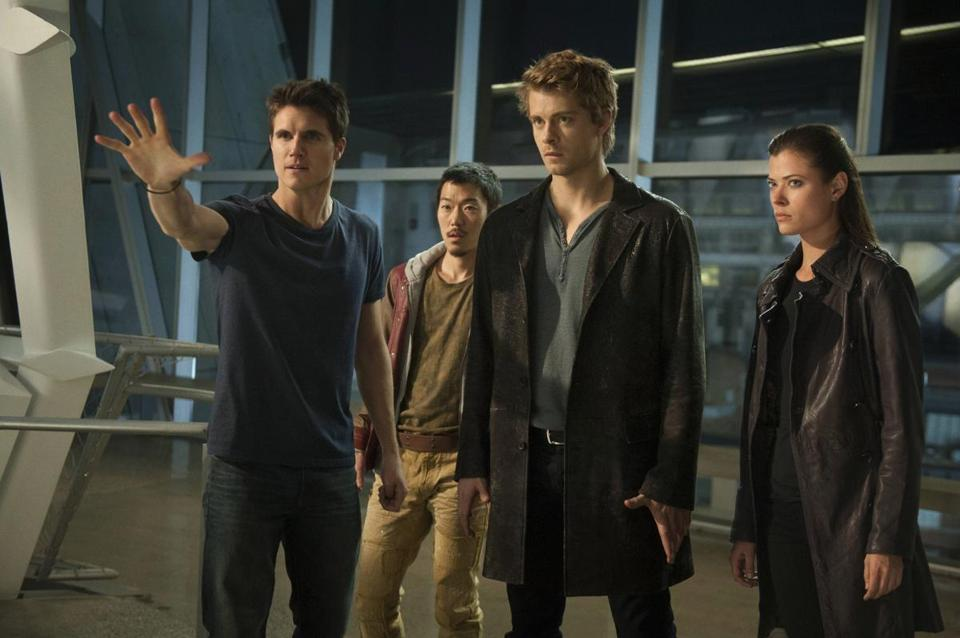 From left: Robbie Amell, Aaron Yoo, Luke Mitchell, and Peyton List in the CW's new teen paranormal superhero series.