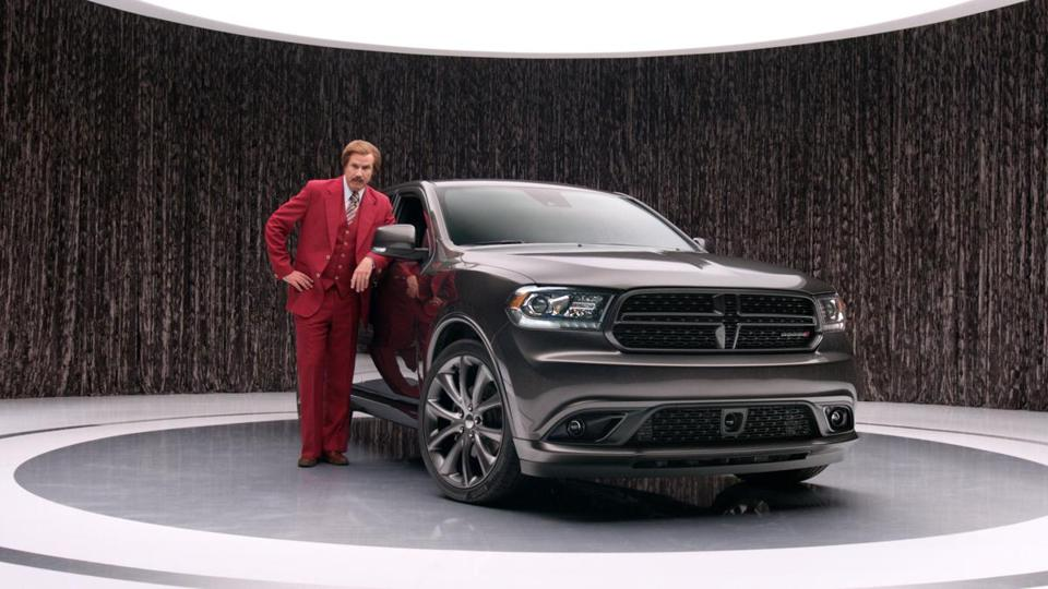 Will Farrell, as Ron Burgundy, wrote and produced the new ad campaign for Chrysler Corp.