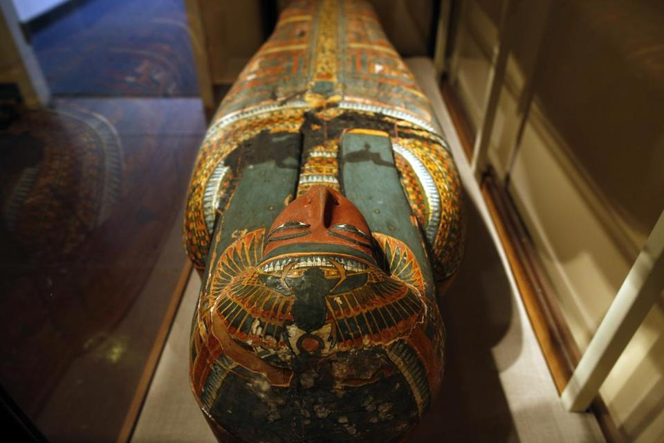 Harvard University museum's  thousands of items includes a wooden mummiform coffin.