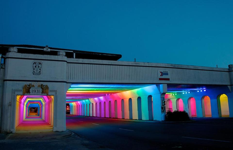 Using light as a connective thread, Birmingham, Ala., turned underutilized structures — such as this railroad underpass — into safe passageways between districts and communities.