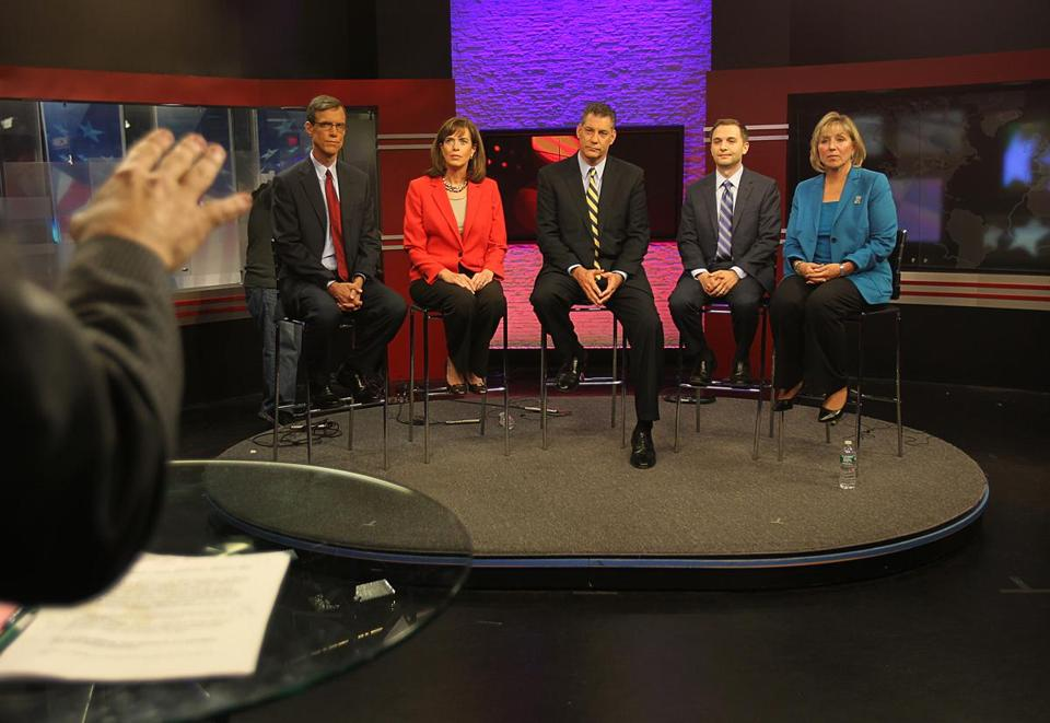 Five of the Democrats seeking the nomination for Edward Markey's former US House seat (Will Brownsberger, Katherine Clark, Peter Koutoujian, Carl Sciortino, and Karen Spilka) faced off in an NECN debate on Tuesday.