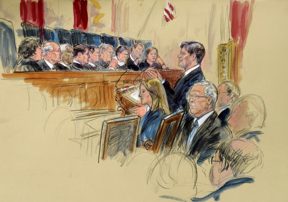 An artist's rendering shows arguments during the Supreme Court's hearing on campaign finance on Tuesday.