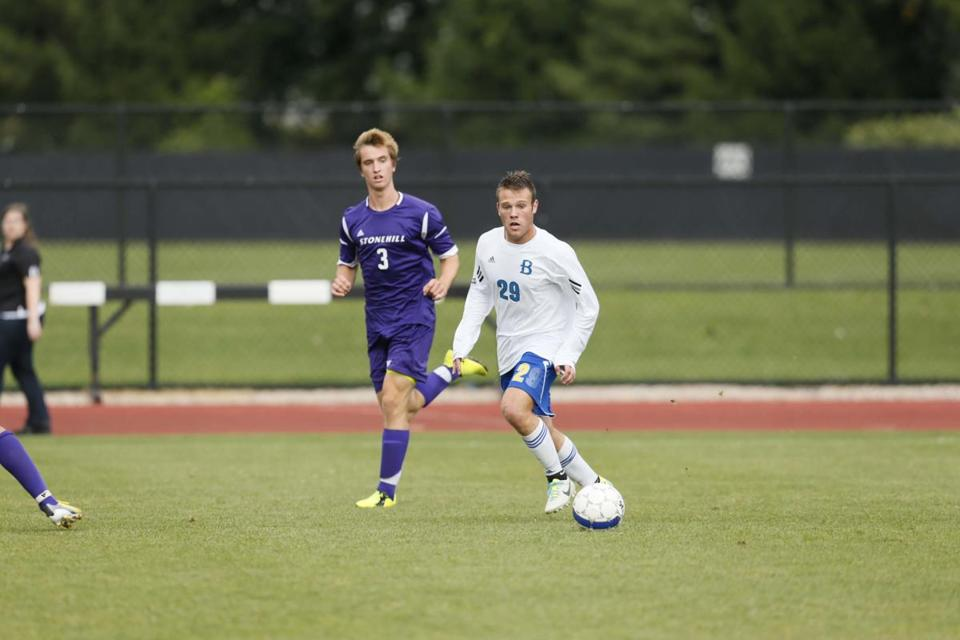Bentley sophomore Scott Levy, seen in action vs. Stonehill, showed his scoring touch as a Canton High senior.