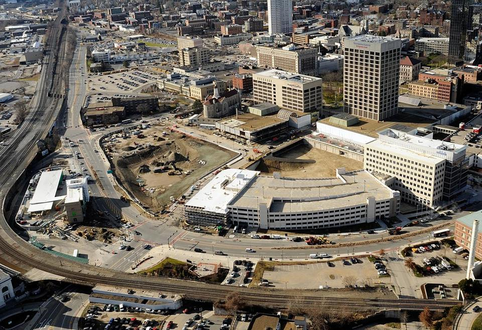 A photo from December 2012 shows a 21-acre swath of Worcester targeted for renewal as part of the CitySquare project.