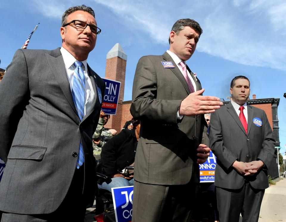 Mayoral candidate John R. Connolly (center) picked up the endorsements of City Councilor Sal LaMattina (left) and state Senator Sal DiDomenico (right) Wednesday.  He had earlier been endorsed by state Representative Aaron M. Michlewitz.