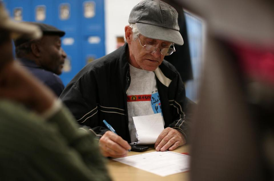 At the Pine Street Inn, Daniel Farquharson, 58, registered to vote for the first time in his life.