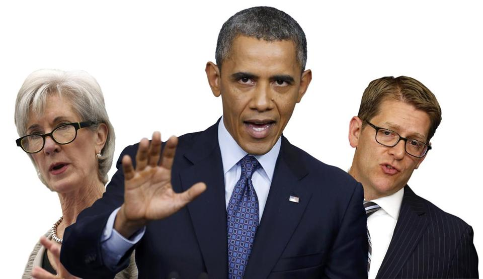From left: Secretary of Health and Human Services Kathleen Sebelius, President Barack Obama, and White House spokesman Jay Carney.
