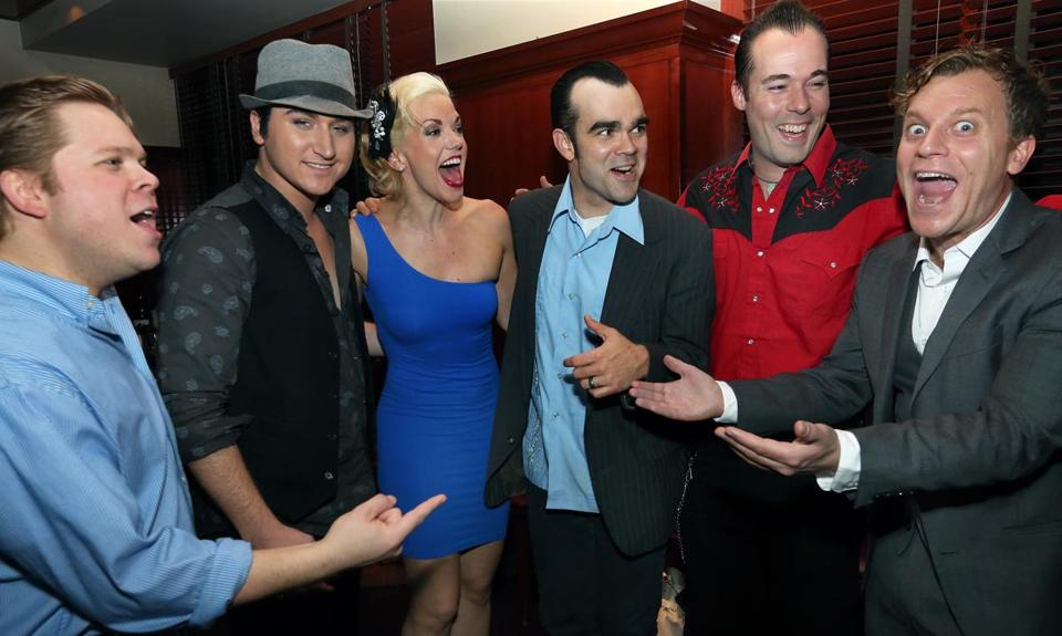 From left: John Countryman,Tyler Hunter, Kelly Lamont, James Barry, Scott Moreau, and Vince Nappo at the after-party.
