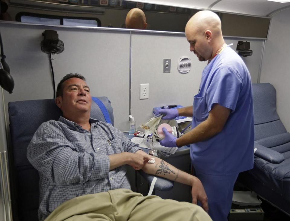 "Chris Page donated blood at a recent drive in Indianapolis. He said he used to donate blood more regularly, but had not done so for a while. ''There's always a need,"" he said."