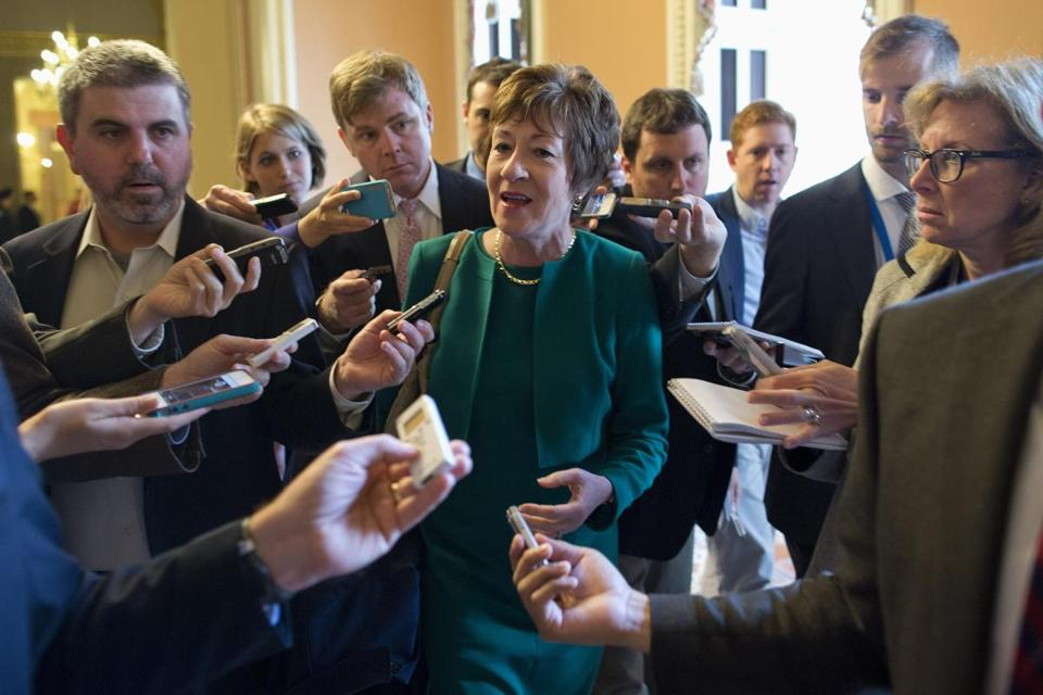 Senator Susan Collins of Maine spoke with reporters after a meeting between Republicans and President Barack Obama at the White House.