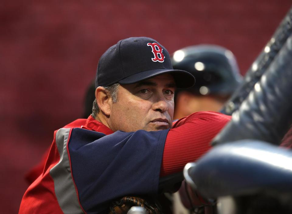 Red Sox manager John Farrell was at Fenway Park as the players prepared for the ALCS.