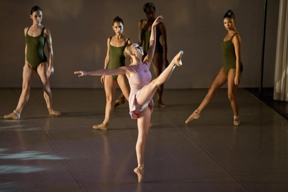 "Kristy Anne Dubois and the corps in José Mateo Ballet Theatre's season opener, ""Shadows Fleeting,"" at Sanctuary Theatre."
