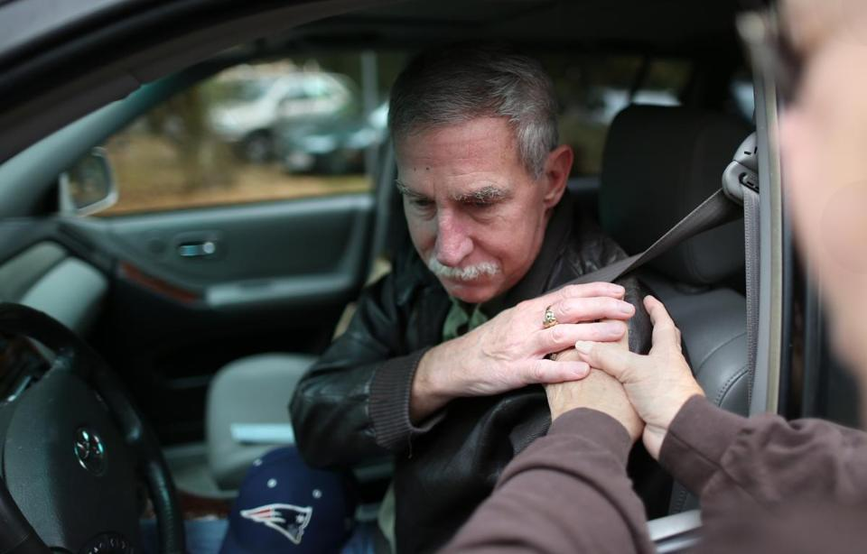 Brian Howley was one of the drivers who took part in a Drive In Prayer event held at Christ Lutheran Church In Scituate.