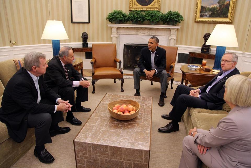 President Obama met with Senate Democratic leaders Dick Durbin, Chuck Schumer, Harry Reid, and Patty Murray in the White House on Saturday afternoon.