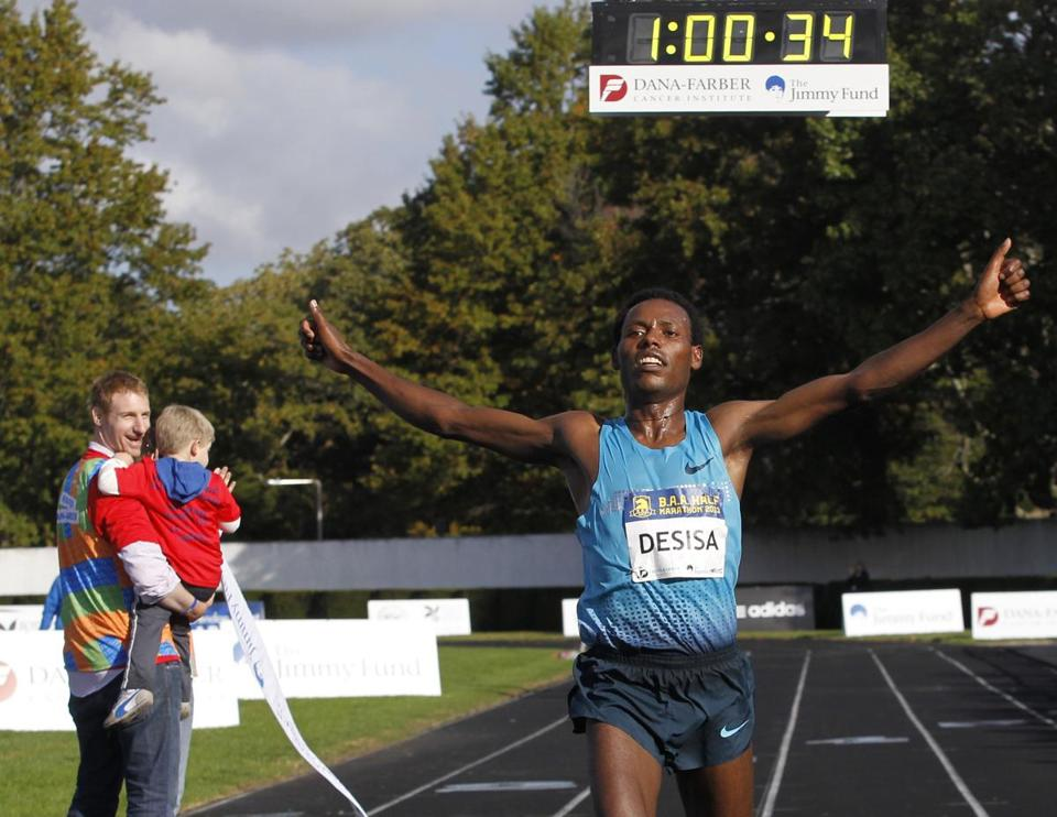 Lelisa Desisa of Ethiopia reacted after crossing the finish line to win the men's division.